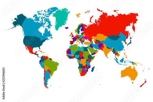 Kolorowe Hi szczegółowe wektor mapa świata