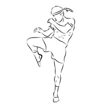 Hand Sketch Vector Of Muay Thai Or Thai Boxing. Martial Arts Of Thailand