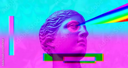 canvas print motiv - Ded Pixto : Purple pink antique sculpture on a retro vaporwave background. Contemporary art collage.