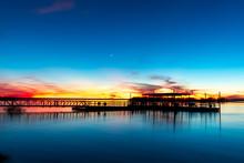 Sunset On The Lake Fishing Pier