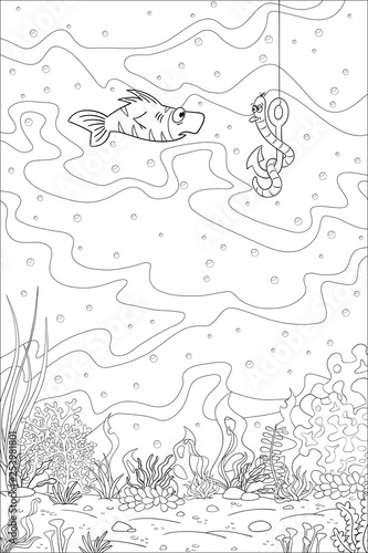 Coloring book underwater landscape with fish and worm. Hand ...