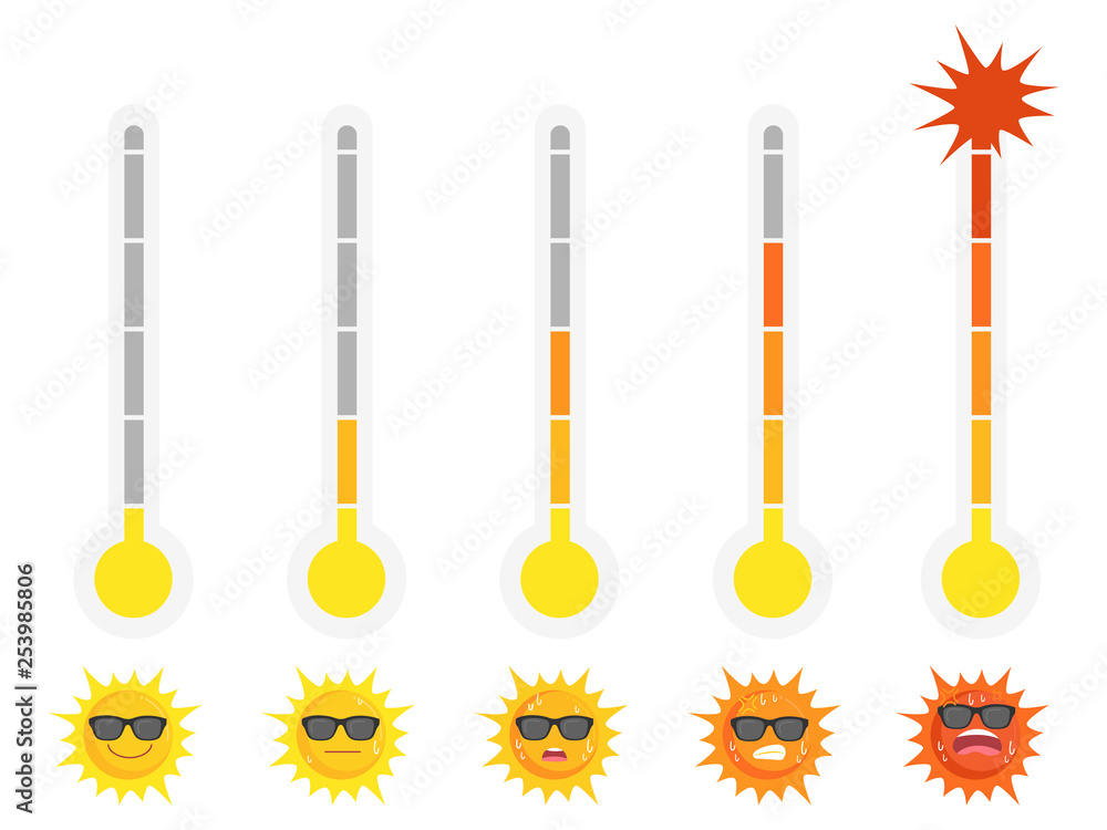 Fototapety, obrazy: Warm High temperature red thermometers with different levels, Set of sun with emotion face, summer concept, hot weather, cartoon vector in flat design.