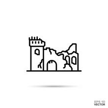 Fantasy Castle Ruins Vector Li...