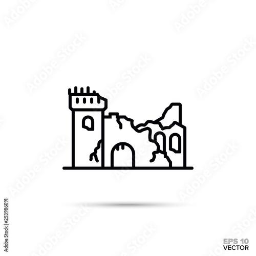 Fotografiet fantasy castle ruins vector line icon