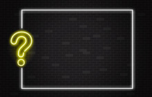 Quiz Banner With Yellow Neon Q...