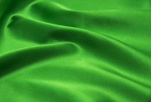 Green Satin Fabric As Background