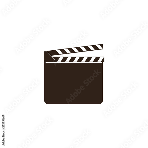 Fotomural Blank movie clapper, clapboard, black open clapperboard and slate board for film industry
