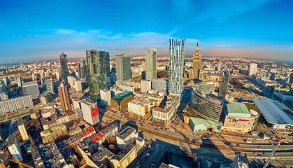 Fototapeta Warszawa Beautiful panoramic aerial drone view to the center of Warsaw City and