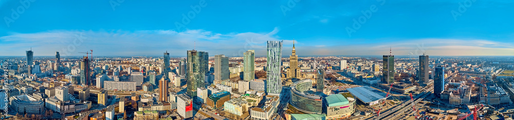 Fototapety, obrazy: Beautiful panoramic aerial drone view to the center of Warsaw City and