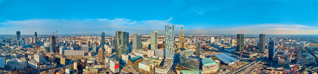 FototapetaBeautiful panoramic aerial drone view to the center of Warsaw City and