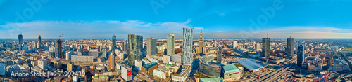 Fototapeta Beautiful panoramic aerial drone view to the center of Warsaw City and