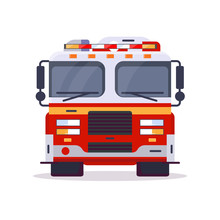 Front View Of Fire Engine Car With Lights. Flat Style Vector Illustration. Vehicle And Transport Banner. Modern Firefighter American Car. 911 Truck With Firefighter. Emergency Fire Engine Vehicle.