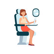 Woman using laptop while sitting in airplane near window cartoon style