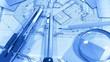 Blueprints: architectural drawings yardstick - folding ruler & samples