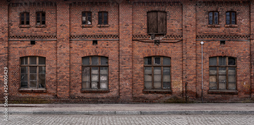 Deurstickers Oude verlaten gebouwen Panoramic old, grunge urban/ industrial background with copy space