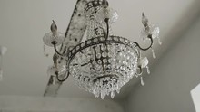 Luxury Large Crystal Chandelier Hanging. Vintage Lighting Lamps With Light Bulbs.