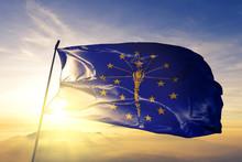Indiana State Of United States Flag Waving On The Top Sunrise Mist Fog