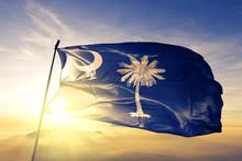 South Carolina State Of United States Flag Waving On The Top Sunrise Mist Fog