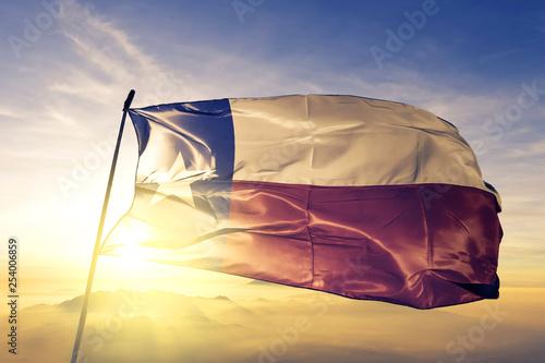 Foto auf AluDibond Texas Texas state of United States flag waving on the top sunrise mist fog