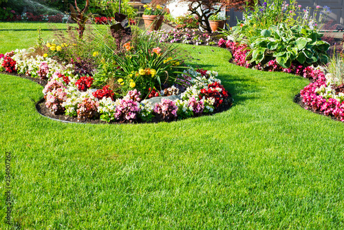 Autocollant pour porte Jardin Beautiful spring, summer garden in full bloom.
