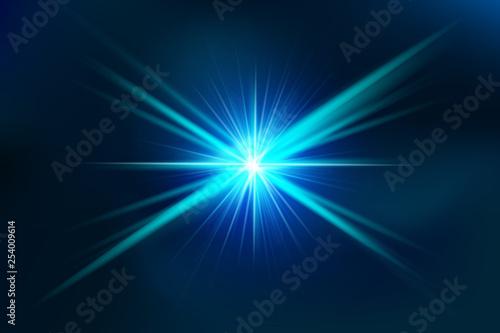 Fototapeta  Effect glow bright blue lens.
