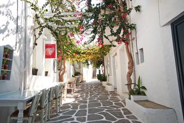 Small quaint street in Naoussa, Paros