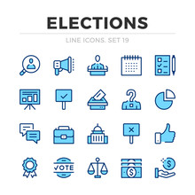 Elections Vector Line Icons Se...
