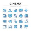 Cinema vector line icons set. Thin line design. Outline graphic elements, simple stroke symbols. Cinema icons