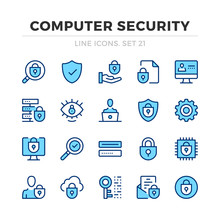 Computer Security Vector Line Icons Set. Thin Line Design. Modern Outline Graphic Elements, Simple Stroke Symbols. Computer Security Icons