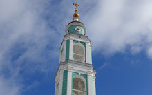 The Bell Tower Of The Transfiguration Cathedral In Tambov Against The Sky, Russian Orthodox Church