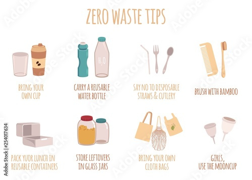 Fotografie, Obraz  Zero waste tips for eco life with text in a flat style.