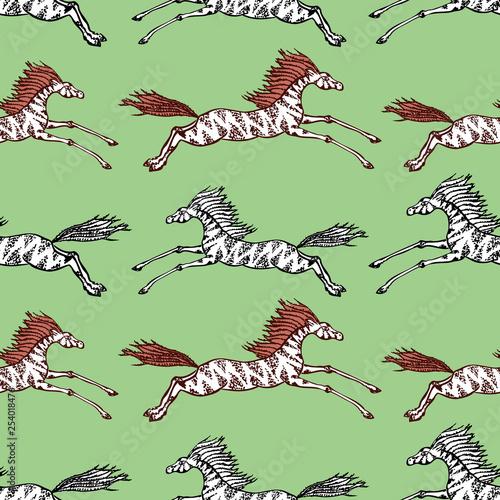 Fotografía  Seamless background of galloping horses