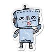 distressed sticker of a cartoon robot
