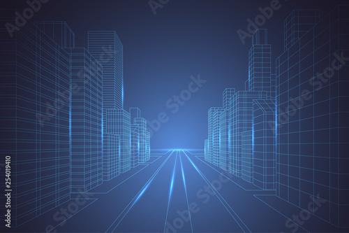 Canvas-taulu Wireframe digital city