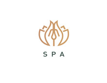 Linear Logo Hands And Lotus For Massage.salon
