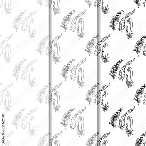 Valokuvatapetti Mockingjay feather seamless pattern hand drawn sketch