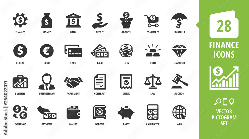 Fototapeta Vector business and finance icon set with money, bank, piggy, credit, exchange, graph, deposit, calculator, web, law, dollar, euro, coin, card, currency, handshake and more isolated silhouette symbol.