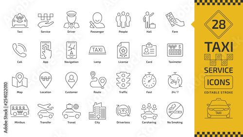 Canvas Vector taxi cab car service editable stroke line icon set with motor transport, driver, passenger on travel, people and city traffic thin outline sign