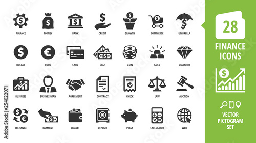 Obraz Vector business and finance icon set with money, bank, piggy, credit, exchange, graph, deposit, calculator, web, law, dollar, euro, coin, card, currency, handshake and more isolated silhouette symbol. - fototapety do salonu