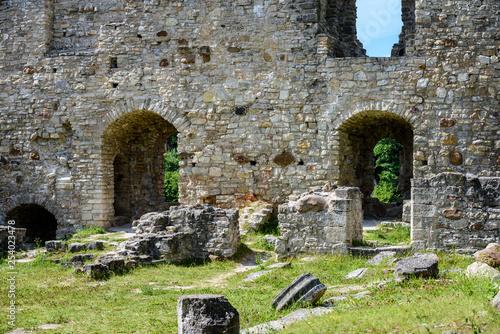 Deurstickers Rudnes ancient stone building castle details