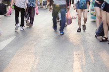 The Pedestrian,many Legs Of People,people In A Shopping Street