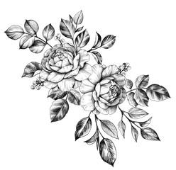 Ručno nacrtana grozd s cvijećem i bobicama