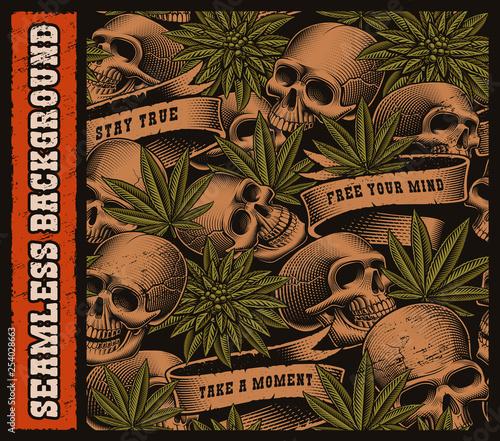 Fototapeta Seamless background of skulls and cannabis leaves
