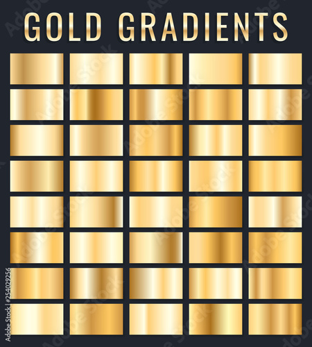 Poster Metal Collection of golden metallic gradient. Brilliant plates with gold effect. Vector illustration