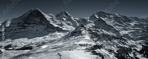 Spectacular winter scenery in the Swiss Alps with famous Eiger, Moench & Jungfrau, Bernese Oberland, Switzerland
