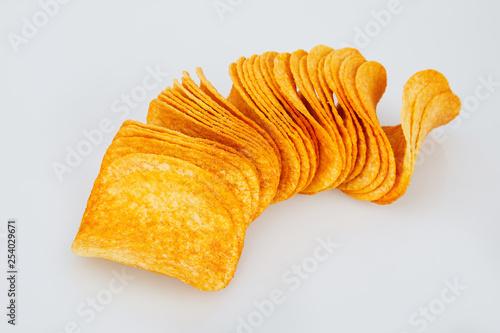 Fotografía  potato chips isolated on white background