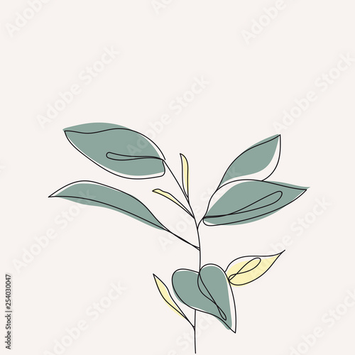 Obraz Plant leaves continuous line drawing. One line . Hand-drawn minimalist illustration, vector. - fototapety do salonu