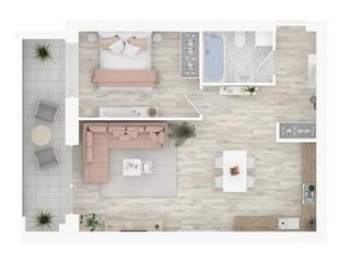 Widok z góry na plan domu. Wnętrze mieszkania na białym tle. 3D render - ilustracja