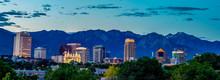 Salt Lake City Skyline In The Early Morning Before Sunrise