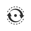 Oval with arrows icon in flat style. Consistency repeat vector illustration on white isolated background. Reload rotation business concept.